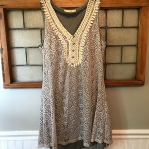 Gray and ivory lace dress